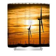 Wind Turbine Farm Picture Indiana Sunrise Shower Curtain