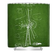 Wind Turbine Patent From 1944 - Green Shower Curtain
