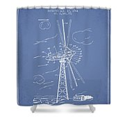 Wind Turbine Patent From 1944 - Light Blue Shower Curtain