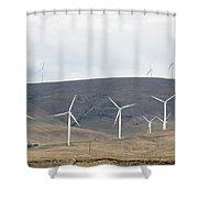 Wind Turbine Power Farm Shower Curtain