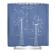 Wind Turbine Rotor Blade Patent From 1995 - Light Blue Shower Curtain