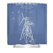 Wind Turbine Speed Control Patent From 1994 - Light Blue Shower Curtain