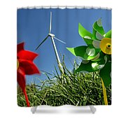 Wind Turbines And Toys Shower Curtain