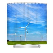 Wind Turbines Farm Shower Curtain