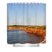 Wind Turbines On Atlantic Coast Shower Curtain