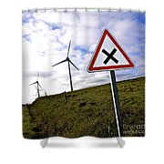 Wind Turbines On The Edge Of A Field With A Road Sign In Foreground. Shower Curtain