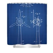 Wind Turbines Patent From 1984 - Blueprint Shower Curtain