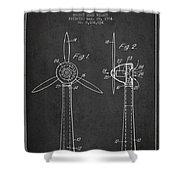 Wind Turbines Patent From 1984 - Dark Shower Curtain