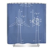Wind Turbines Patent From 1984 - Light Blue Shower Curtain