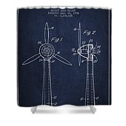 Wind Turbines Patent From 1984 - Navy Blue Shower Curtain