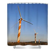 Wind Turbines  Shower Curtain by Shay Levy