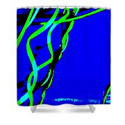 Winding Green And Blue Abstract Shower Curtain
