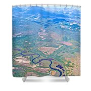 Winding River From The Seaplane In Katmai National Preserve-alaska Shower Curtain