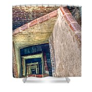 Winding Square Staircase Of Old Brick-walled Tower Shower Curtain