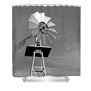 Windmill And Passing Plane Shower Curtain