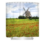 Windmill And Poppy Field In Brittany Shower Curtain
