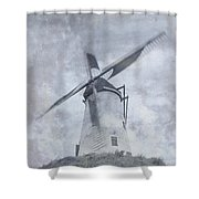 Windmill At Damme In Belgium Countryside Shower Curtain