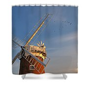 Windmill At Dusk On The Norfolk Broads In Autumn Shower Curtain
