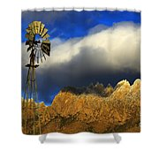 Windmill At The Organ Mountains New Mexico Shower Curtain by Bob Christopher