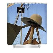 Windmill Canteen And Cowboy Hat 1 Shower Curtain