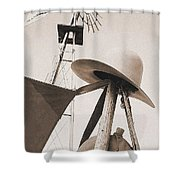 Windmill Canteen And Cowboy Hat 4 Shower Curtain