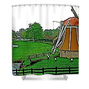Windmill In A Park In Enkhuizen-netherlands Shower Curtain