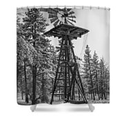 Windmill In The Snow Black And White Shower Curtain