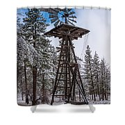 Windmill In The Snow Shower Curtain