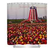 Windmill Of Flowers Shower Curtain