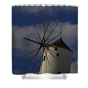 Windmill On Santorini Island  Shower Curtain