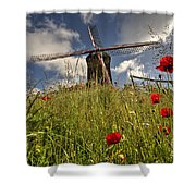 Windmill Poppies  Shower Curtain