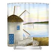 Windmill Shower Curtain by Veronica Minozzi
