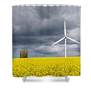 Windmill With Motion Blur In Rapeseed Field Shower Curtain