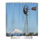 Windmill With Mount Jefferson In Central Oregon Shower Curtain