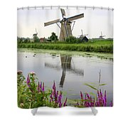 Windmills Of Kinderdijk With Flowers Shower Curtain