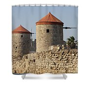 Windmills Of Rhodos - Port Of The Myloi Shower Curtain