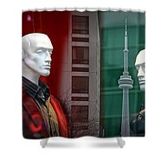 Window Display In Toronto At Christmas Time Shower Curtain