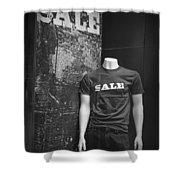 Window Display Sale In Black And White Photograph With Mannequin No.0129 Shower Curtain