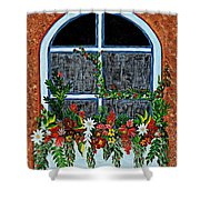 Window Flower Box On A Stucco Wall Shower Curtain