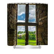 Window In Linlithgow Palace With View To A Beautiful Scottish Landscape Shower Curtain