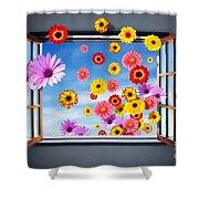 Window Of Flowers Shower Curtain