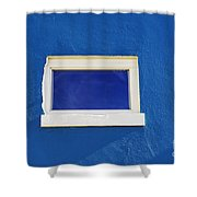 Window On Blue Shower Curtain