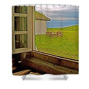 Window On Sod-covered Roof In Louisbourg Living History Museum-1744-ns Shower Curtain
