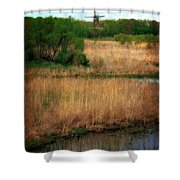 Window On The Waterfront Dezwaan Windmill Shower Curtain