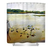 Window On The Waterfront Shower Curtain