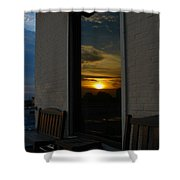 Awesome Sunset Window Reflections Downtown Charleson Sc Shower Curtain by Ella Char