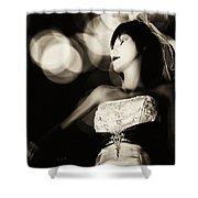 Window Shopping At Night Shower Curtain