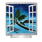 Window To Paradise Beach Shower Curtain