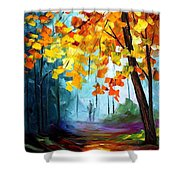 Window To The Fall - Palette Knife Oil Painting On Canvas By Leonid Afremov Shower Curtain