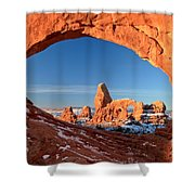 Window To Turret Arch Shower Curtain